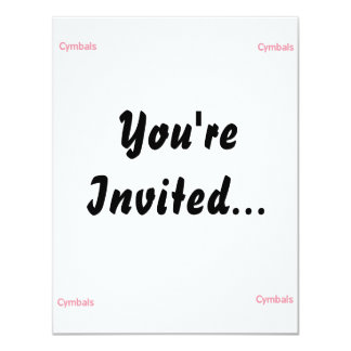 cymbals text pink 4.25x5.5 paper invitation card