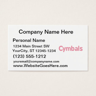 cymbals text pink business card