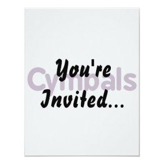 cymbals text purple 4.25x5.5 paper invitation card