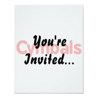 cymbals text red 4.25x5.5 paper invitation card