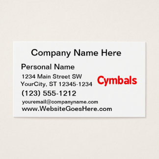 cymbals text red business card