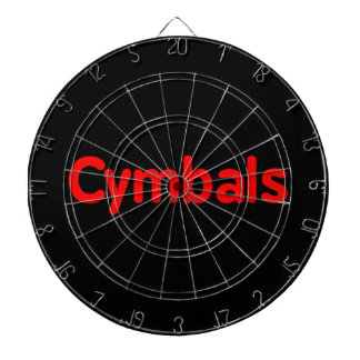cymbals text red dart board