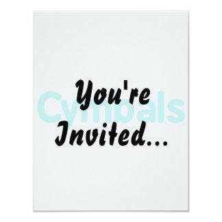 cymbals text teal 4.25x5.5 paper invitation card