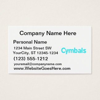 cymbals text teal business card