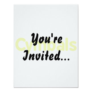 cymbals text yellow 4.25x5.5 paper invitation card