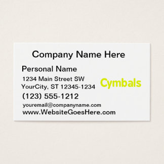 cymbals text yellow business card