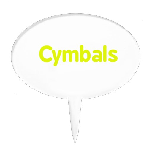 cymbals text yellow oval cake pick