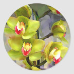 Cymbidiums chartreuses pegatina redonda