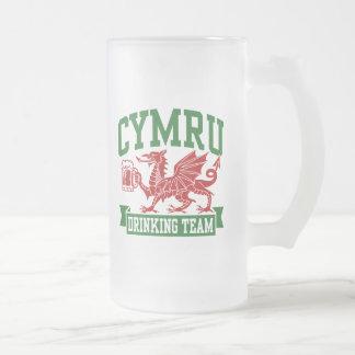 CYMRU Drinking Team Frosted Glass Beer Mug