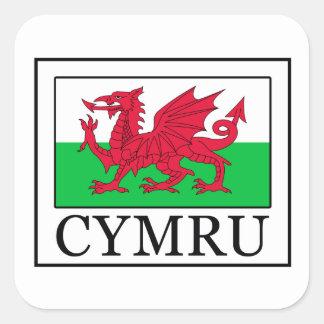 Cymru hat square sticker