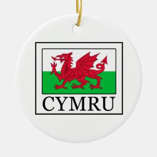 Cymru Double-Sided Ceramic Round Christmas Ornament