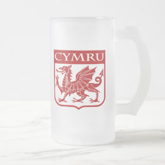 Cymru - Wales Frosted Glass Beer Mug