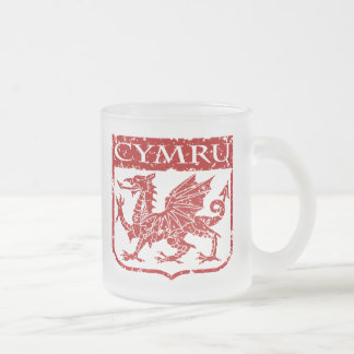 Cymru - Wales - Vintage Frosted Glass Coffee Mug