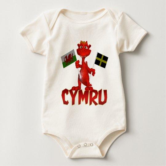 Cymru Welsh T Shirt, Welsh Flag & St. David's Flag Baby Bodysuit