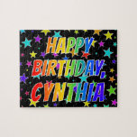 "[ Thumbnail: ""Cynthia"" First Name, Fun ""Happy Birthday"" Jigsaw Puzzle ]"