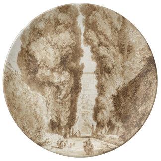Cypress Avenue at Villa d Este Tivoli by Fragonard Porcelain Plate