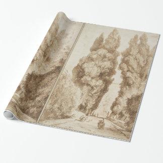 Cypress Avenue at Villa d Este Tivoli by Fragonard Wrapping Paper