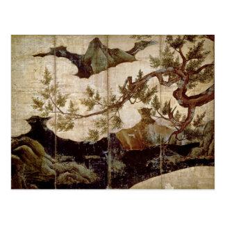 Cypress by Kano Eitoku, Muromanchi period Post Card