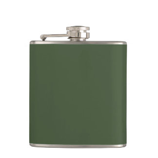 Cypress Green Personalized Dark Hunter Background Flasks
