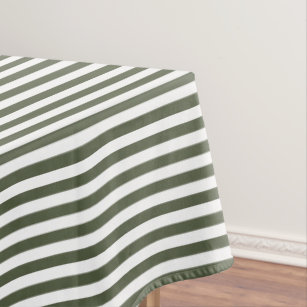 Merveilleux Cypress Pine Green And White Stripe Tablecloth