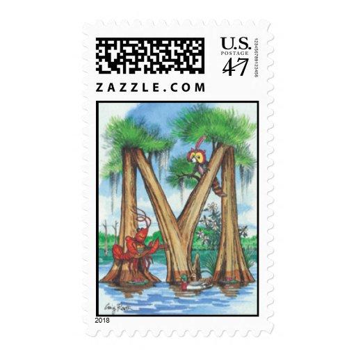 "Cypress Tree Alphabet ""M"" Postage Stamp"