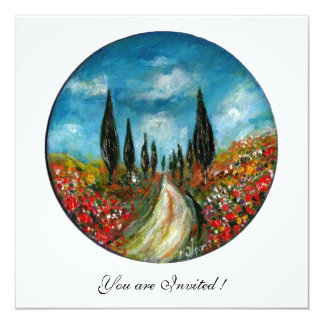 CYPRESS TREES AND POPPIES IN TUSCANY, red blue Card