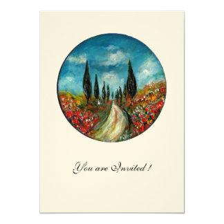 CYPRESS TREES AND POPPIES IN TUSCANY,red blue felt Card