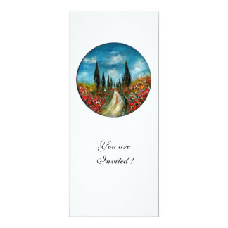 CYPRESS TREES AND POPPIES IN TUSCANY, red blue 4x9.25 Paper Invitation Card