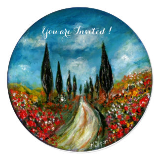 CYPRESS TREES AND POPPIES IN TUSCANY, red blue 5.25x5.25 Square Paper Invitation Card
