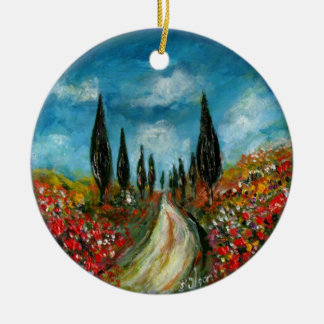 CYPRESS TREES AND POPPIES  IN TUSCANY ROUND Double-Sided CERAMIC ROUND CHRISTMAS ORNAMENT