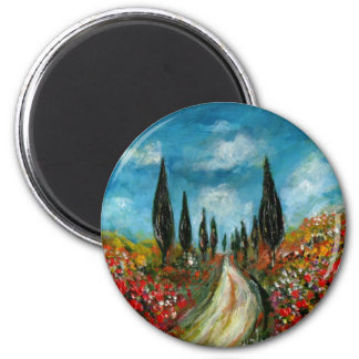 CYPRESS TREES AND POPPIES  IN TUSCANY ROUND MAGNET
