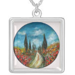 CYPRESS TREES AND POPPIES  IN TUSCANY ROUND JEWELRY