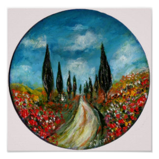 CYPRESS TREES AND POPPIES  IN TUSCANY ROUND POSTER