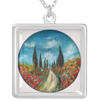 CYPRESS TREES AND POPPIES  IN TUSCANY ROUND SQUARE PENDANT NECKLACE