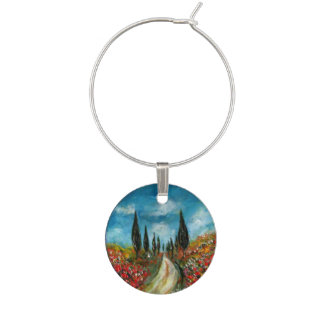 CYPRESS TREES AND POPPIES IN TUSCANY WINE CHARM