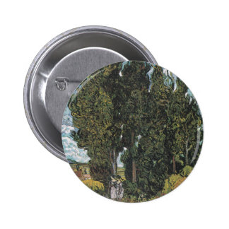 Cypress Trees by Van Gogh Button