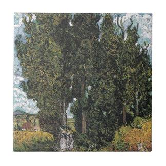 Cypress Trees by Van Gogh Ceramic Tile