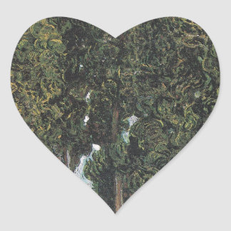 Cypress Trees by Van Gogh Heart Sticker