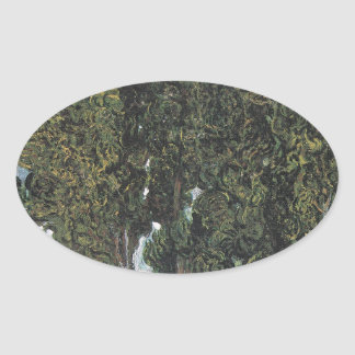 Cypress Trees by Van Gogh Oval Sticker