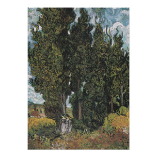 Cypress Trees by Van Gogh Poster