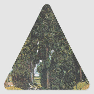 Cypress Trees by Van Gogh Triangle Sticker