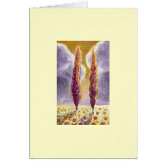 Cypress Trees in Sunflower Field III Card
