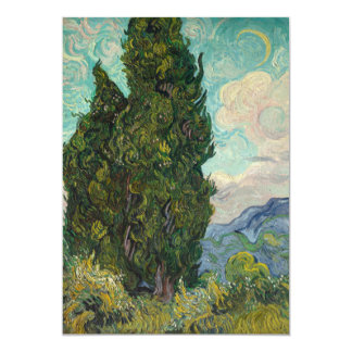 "Cypresses by Vincent Van Gogh 5"" X 7"" Invitation Card"