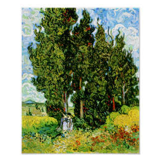 Cypresses with Two Women Van Gogh Fine Art Poster