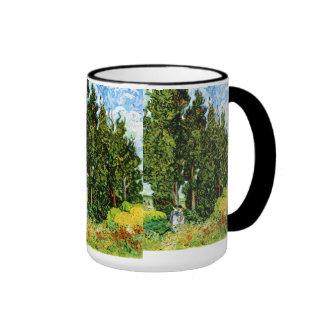 Cypresses with Two Women Van Gogh Fine Art Ringer Mug