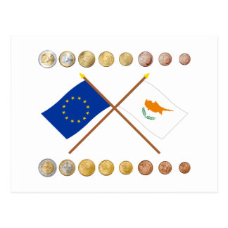 Cypriot Euros and EU & Cyprus Flags Postcard