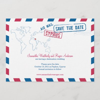 Cyprus Air Mail Wedding Save The Date