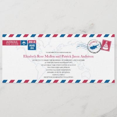 Cyprus Airmail Wedding Invitation