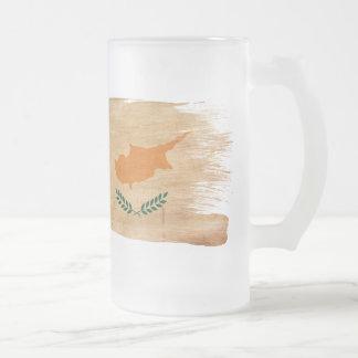 Cyprus Flag Frosted Glass Beer Mug
