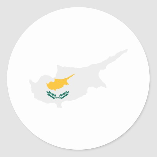 Cyprus map flag classic round sticker